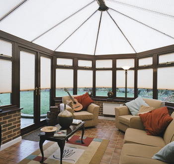 Conservatory roof and window blinds in white