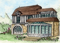 Watercolour painting of a house with a conservatory