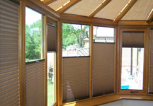'Double float' conservatory blinds in brown