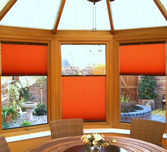 'Double float' conservatory blinds in orange