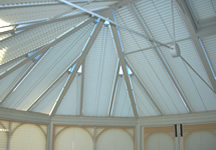 Conservatory roof blinds in white
