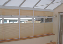 Conservatory window blind in yellow