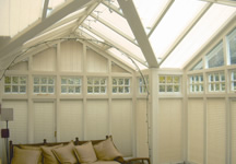 Conservatory window blinds in white