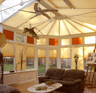 Butterscotch and orange conservatory window blinds